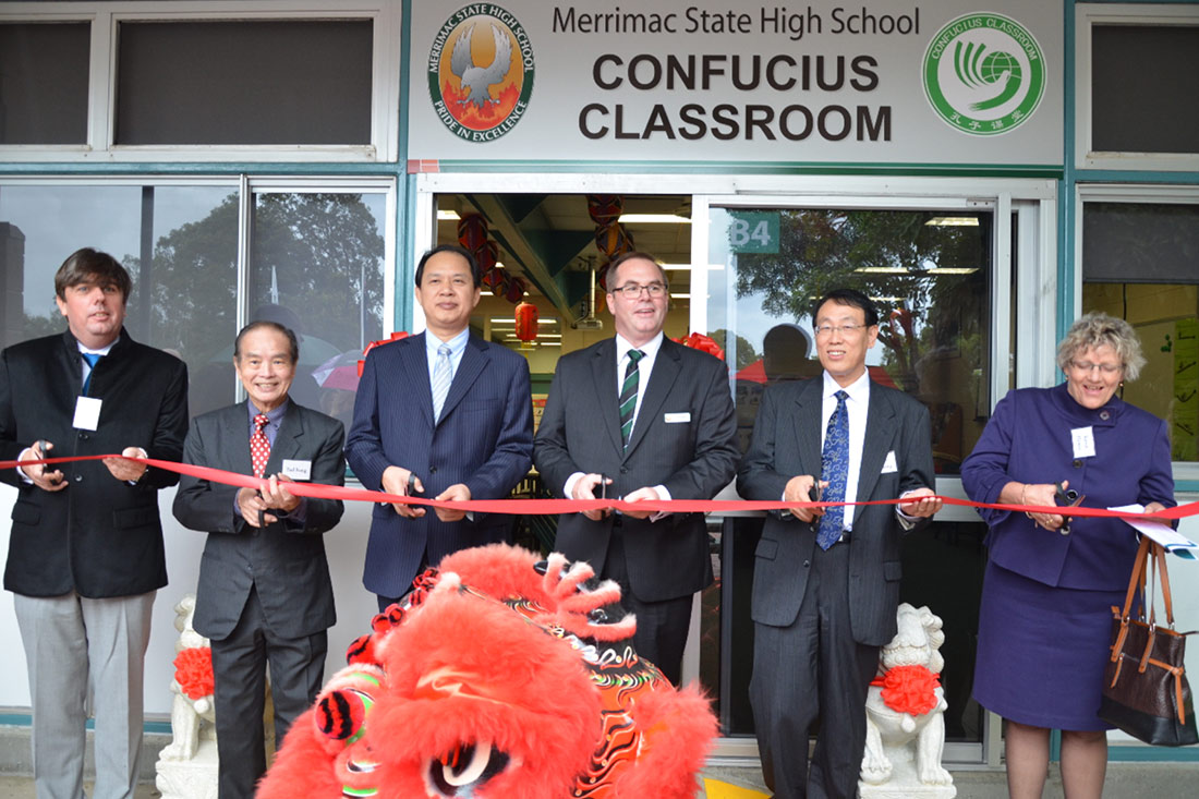 School students celebrate the opening of their Confucius Classroom